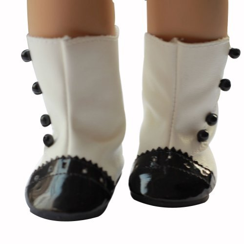 Ebuddy Black White Fashion Doll Shoes Boots Fits 18 Inch Girl Dolls