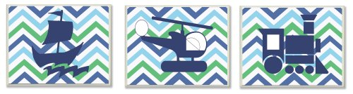 The Kids Room by Stupell Sail Boat, Helicopter, Train Green And Blue Chevron 3-Pc. Rectangle Wall Plaque Set