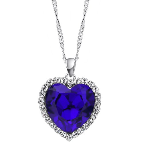 Neoglory Charm Ocean Titanic Heart Blue Pendants Necklace Premier Designer Affordable Fashion Crystal & Rhinestone Jewelry for Women
