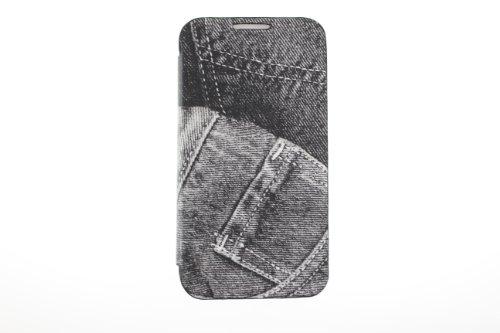 JAPAEMO Galaxy S4 (SC-04E) デニム柄 フリップ型 カードケース付き全3色ドコモ ギャラクシーS4 ケース ブラック [JE00977]