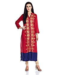 Vishudh Women's Straight Kurta (VNKU004437_Red_L)