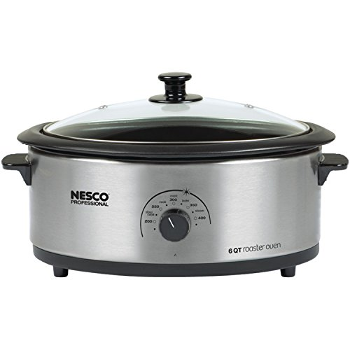 Nesco American Harvest 4816-25-30 Non-Stick 6-Quart Roaster Oven, Stainless Steel