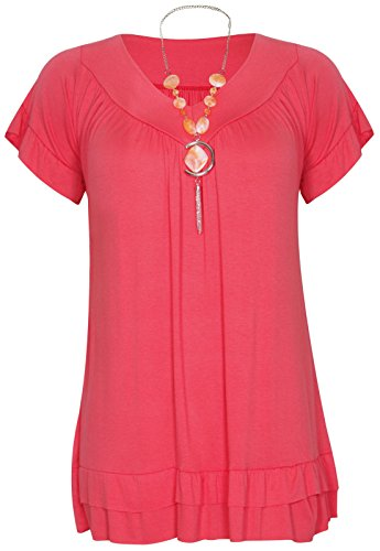 Womens Plus Size Frill Necklace Gypsy Ladies Tunic Short Sleeve Long V Neck Tops (24, Coral)