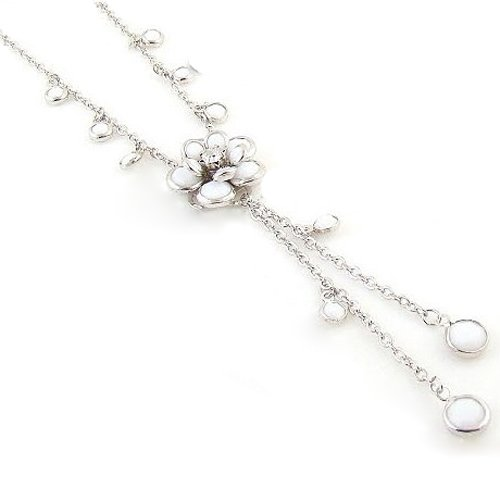 Cute Lady Fashion Lovely White Flower Pendant Camellia Rhinestone Tassels Necklace