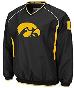 Buy Iowa Hawkeyes Black Embroidered V Neck School Pride Wind Jacket by Colosseum by Colosseum