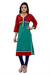 MSONS Women's Green Embroidered Button V-Neck Long Cotton Kurti