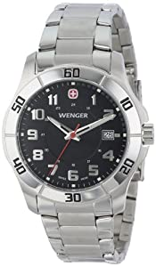 Wenger Men's 70487 Alpine Black Dial Steel Bracelet Watch