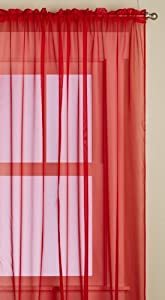 Editex Home Textiles Monique Sheer Window Panel, 58 by 95-Inch, Red