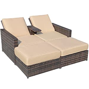 Outsunny outdoor 3 piece pe rattan wicker for Chaise game free download
