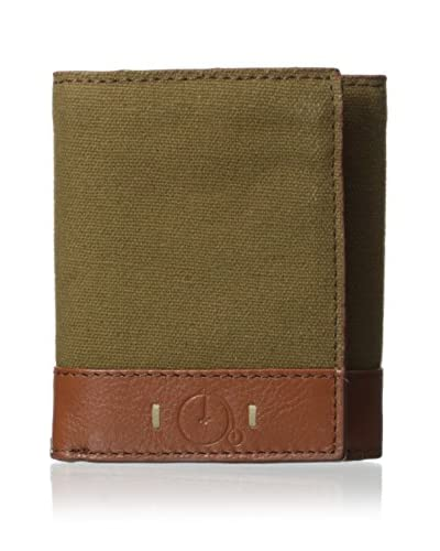 Maker & Company Men's Washed Canvas Trifold Wallet, Olive
