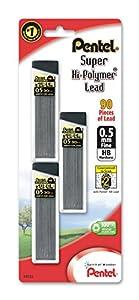 Pentel Super Hi-Polymer Lead Refills, 0.5 mm, 90 Pieces (C25BPHB3-K6)