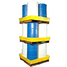 "Dixie Poly BM-ES Polyethylene 4 Drum Econo-Stacker, 70 gallon Sump Capacity, 50"" Length x 50"" Width x 7"" Height"