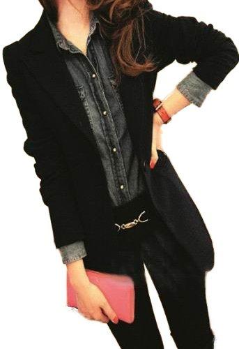 (Route de soleil)細身シルエットのテーラードジャケット モノトーン 黒/Sサイズ