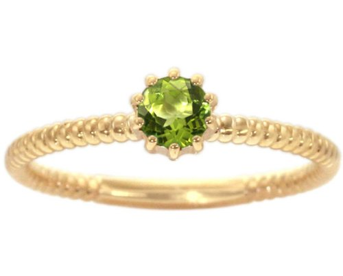 14K Yellow Gold Petite Round Gemstone Solitaire Stackable Ring-Peridot, size7