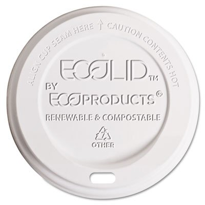 Eco-Products EP-ECOLID-8 Hot Cup Lid, 8 oz, Translucent, 800-Carton