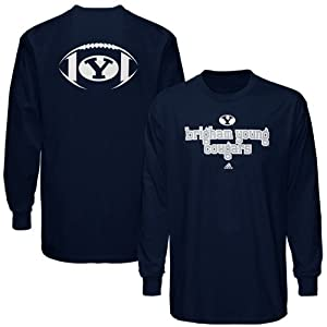 Buy NCAA adidas Brigham Young Cougars Backfield Long Sleeve T-Shirt - Navy Blue by adidas