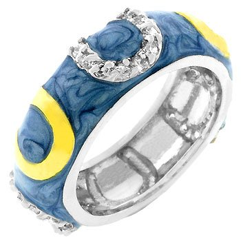 Light Blue Enamel with 14k Gold Plate and Cubic Zirconia CZ Horseshoe Pattern Silver Tone Costume Ring (Size 5,6,7,8,9,10)