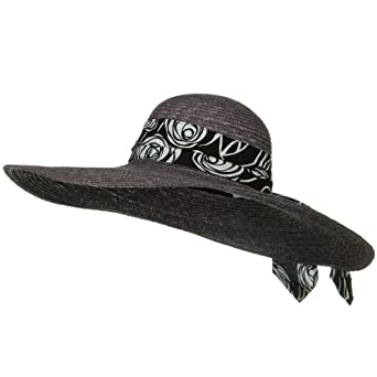 Print Sash Large Brim Straw Hat - Grey