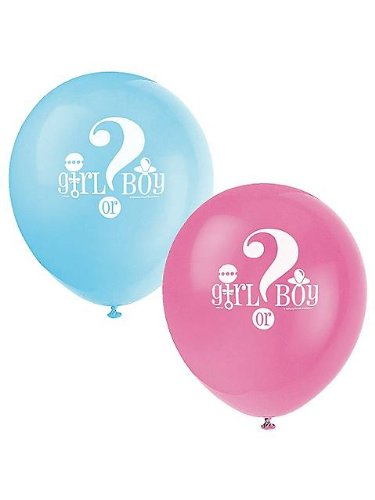 Gender Reveal 8 Count Latex Balloons, 12-Inch, Blue And Pink front-59625