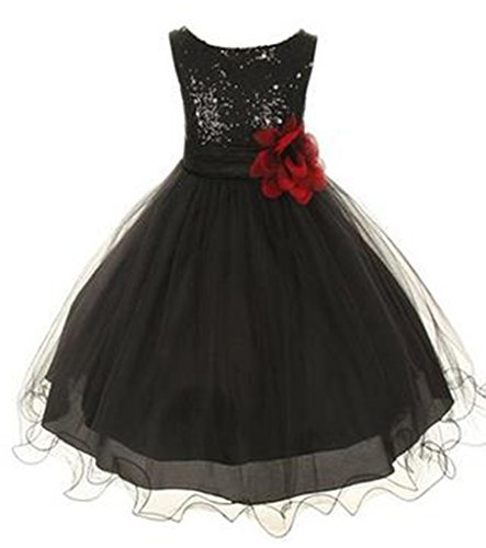 ZAH Sequin Mesh Flower Party Wedding Gown Bridesmaid Tulle Dress Little Girl(Black,10Y) (Fancy Dress Uk)