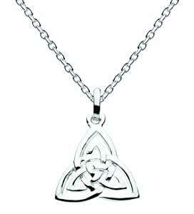 """Heritage Womens Silver Plated Celtic Triangle Knot Necklace SP92816HP, 18"""""""
