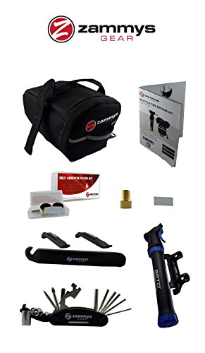 ZammysGear Bicycle Flat Tire Repair Kit Bundle with Accessories, Black (Bike Tool Bag compare prices)