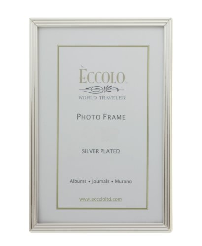 Eccolo World Traveler Striped Silver Plated Frame, Holds a 5 x 7-Inch Photo