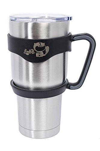30 OZ Stainless Steel Vacuum Insulated Leak Resistant Finger Sliderable Lid Tumbler Rambler Flash Traveler Mug Cup + Handle Grip Combo Bundle (30 OZ Tumbler With Handle)