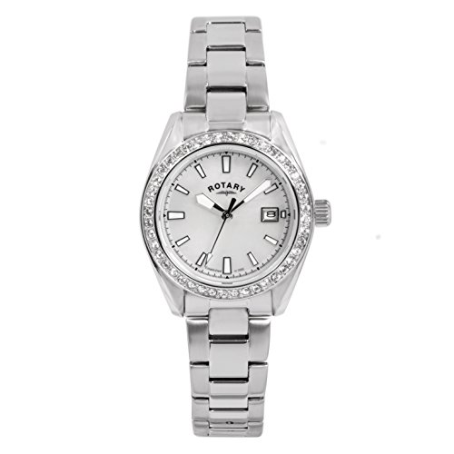 Rotary Timepieces Women's Quartz Watch with White Dial Analogue Display and Silver Stainless Steel Bracelet