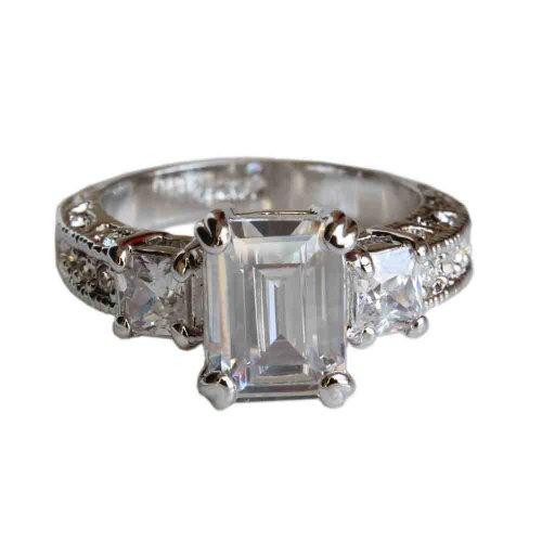 Fashion Plaza 18k White Gold Plated Use Swarovski Crystal Engagement Spark Ring R23 Size 6
