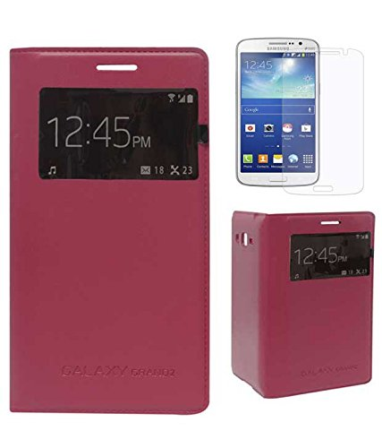 TBZ Premium S View Flip Cover Case -Fusion Red for Samsung Galaxy Grand 2 with Screen Guard  available at amazon for Rs.379