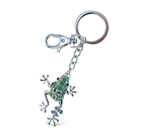 Puzzled Green Frog Sparkling Charm Keychain