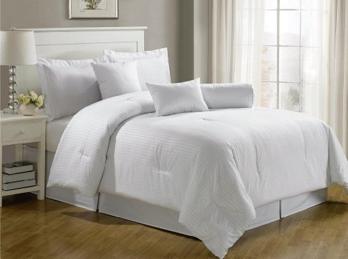 Chezmoi Collection 7-pieces Hotel Dobby Stripe Comforter Set, Queen, White