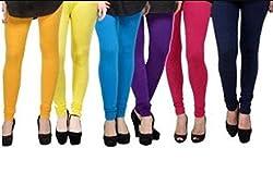 BULLY Women's Cotton Lycra Leggings combo of 6 (MPJLEG-84)