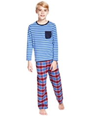 Pure Cotton Striped & Checked Pyjamas