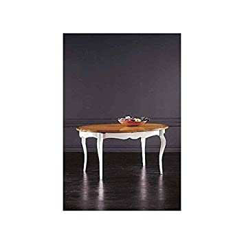 Table bois massif ovale extensible laqué blanc et noyer salon séjour-comme photos blanc et ivoire