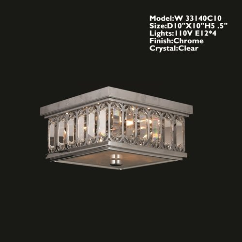 Worldwide Lighting W33140C10 Athens Ceiling Light With Clear Crystal, Chrome Finish