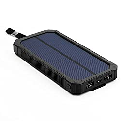 X-DRAGON Solar Charger Power Bank 15000mAh Dual USB Portable Solar Battery Charger for iPhone 6 Plus 5S 5C 5 4S, iPod, Samsung Galaxy S6 S6 Edge S5, GPS and More(Black)