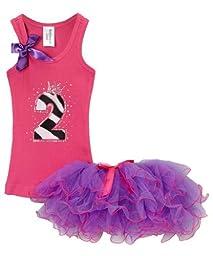 Girls Birthday Party #2 Hot Pink Top Chiffon Tutu Set By Bubblegum Divas