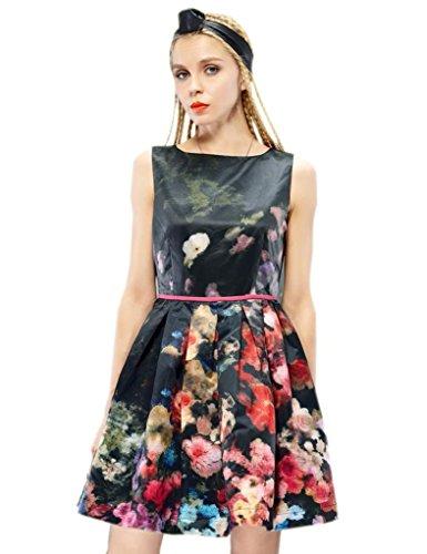 Elf Sack Womens Autumn Dress Round Neck Sleeveless Palace Style Printing Large Size