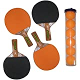CE DHUPER FINE TABLE TENNIS BAT WITH TT BALLS - (PACK OF 4) (ASSORTED COLOURS)