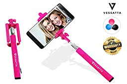 VESSATTA © Selfie Stick for iPhone & Samsung Smart Phones - Requires no charge, strudy with photo button on handle (extends 3.5 feet) Compact folding size - Multiple Colors (Pink)