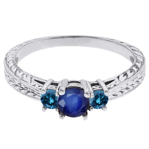 0.60 Ct Round Blue Sapphire Diamond 14K White Gold 3-Stone Ring