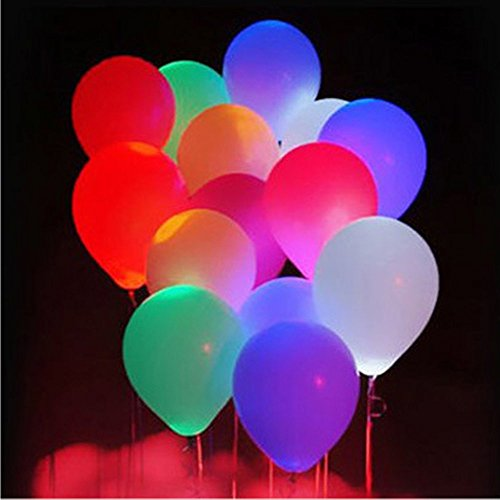 ForeverYue 12 Inch LED Balloons-Light Up LED Balloons For Your Party - A Vibrant Colored Party Pack Of 10 Balloons - A Range Of Colors - Perfect For Kid's Parties, Celebrations And To Have FUN!