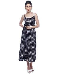 Designeez Black, White Polka Print Maxi Dress