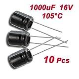 SODIAL(R)10 x 1000uF 16V 105C ラジアル 電解コンデンサ 10×13ミリメートル