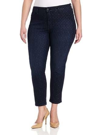 NYDJ Women's Plus-Size Alisha Ankle Polka Dot Jeans, Ventura Wash, 14W
