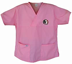 FSU Pink Scrubs Tops SHIRT -Size LG Florida State University Ladies