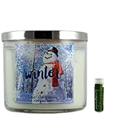 Bath & Body Works WINTER 3 Wick Scented Candle with Decorative Silver Lid 14.5 oz/411g with a Jarosa Bee Organic Peppermint Lip Balm