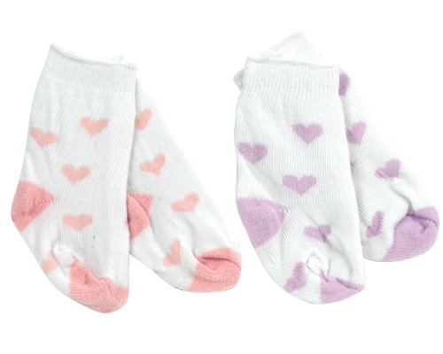 2 Pair Baby Doll Socks, in Heart Print Pattern perfect for Baby Doll Clothing, Fits American Girl Dolls Bitty Baby and More! by Sophia's, One Pink Pair & One Lavender Heart Socks. 2 Pair Socks, one Pink & one Lavender Heart Socks
